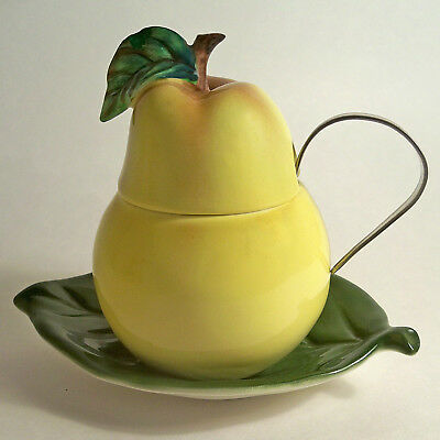 VTG 3 PC. PEAR SHAPED SUGAR CONDIMENT JAM BOWL JAR w/ SPOON ESD LEFTON JAPAN 50s