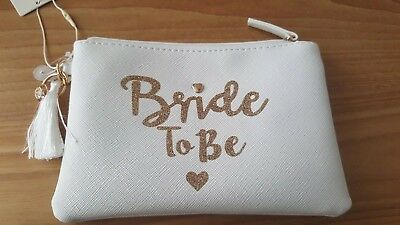 Bride To Be Wedding Hen Party Cosmetic Pouch Make-Up Purse Bag Primark Gift New