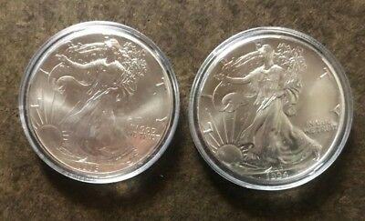 Two American Silver Eagle Coins; 1994 & 1995; 2 Troy oz Bullion Lot - No Reserve