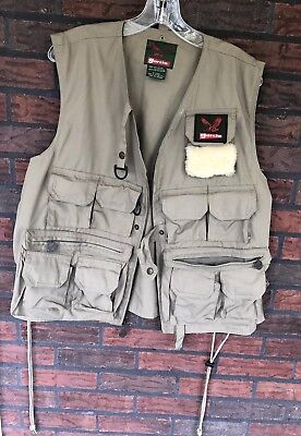 Garcia Fly Fishing Vest One Size Fits All Khaki Tan Lots Pockets Expandable Side