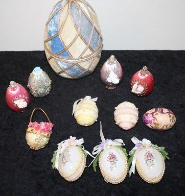 Vintage Estate Easter Decor Ornaments Decoupage Bead Sequin Satin & Real Egg Lot