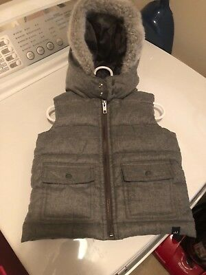 Janie and Jack padded gray vest with fur trimmed hood 18-24 months