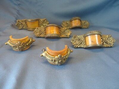 Antique Art Deco Furniture Drawer Pulls Handles ~ Brass & Celluloid