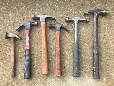 Old Used Tools Vintage Hammers Estwing Plumb Stanley Construction Wood Carpenter