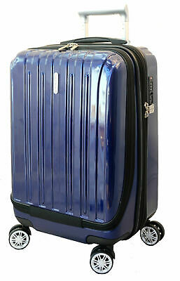 "20"" Carry-on Luggage Expandable Spinner Trolley + Zippered Computer Pocket"