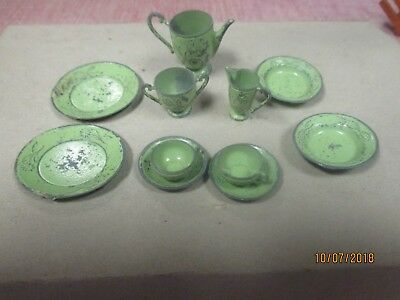 Tootsie Toy Green Painted Doll House Coffee Set Pot Creamer Sugar Plates Cups