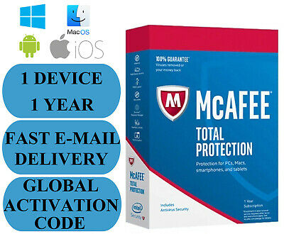 McAfee Total Protection 1 PC 1 YEAR GLOBAL KEY 2019 EMAIL ONLY NO CD!!!