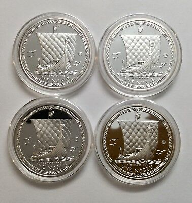 Lot Of 4 2011 Isle Of Man 1 oz Silver One Noble Uncirculated Coins, Capsules (B)