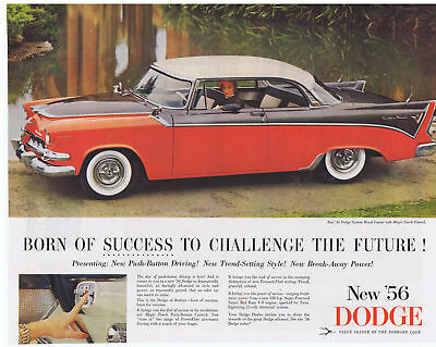 1956 DODGE CUSTOM ROYAL LANCER with Magic Touch Control Print Ad