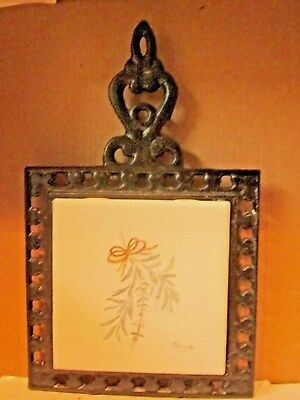 Estate Antique Wrought Iron Trivet With New Sage Tile Or Wall Decor