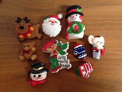 Vintage Hallmark & Unbranded Holiday Brooch Pins & Button Covers - Lot of 9