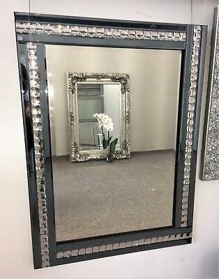 smoked grey glass bejewelled wall hanging mirror