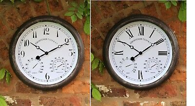 Wall Clock Outdoor Garden Thermometer Humidity Meter 38 cm  Roman Or Arabic