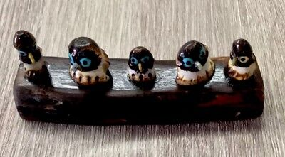Collectible Native American Sacred Zuni Owl Family Protection Fetish by Craig Ha