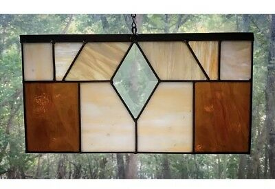 Vintage Stained Glass- Beveled Diamond Center, Gold and Cream, Amber Glass