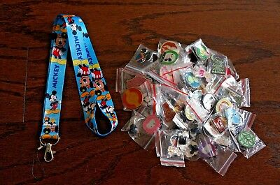 Disney World 25 Pin Trading Lot Lanyard Starter Set Blue Mickey Mouse Light Blue