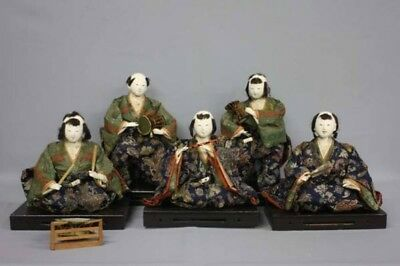 Late Edo period Hina dolls Five-folk musicians Japanese Antique Free shipping