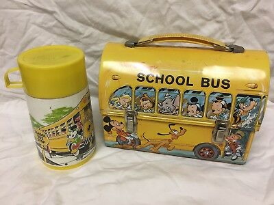 VINTAGE 1960's WALT DISNEY MICKEY MOUSE SCHOOL BUS LUNCH BOX & THERMOS (See Disc