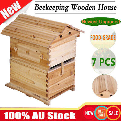 AU Wooden Beekeeping Beehive Brood House Box For 7x Auto Flow Honey Hive Frames