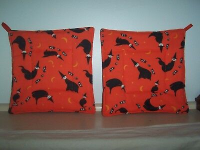 Two  (2) Hand Crafted Vintage Halloween Pot Holders/Hot Pads with Witches Used