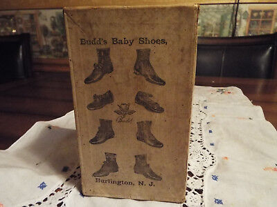 """Antique 19Th Century Baby Shoes """"budds"""" With Original Box Rare Find!!"""