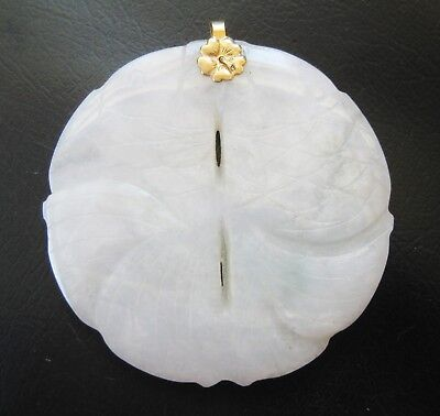 Fine Old Chinese 14k Gold Carved White Jade Double Fish Necklace Pendant