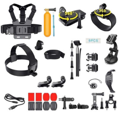 36Pcs Accessories Kit for GoPro Hero 3 3+ 4 5 6 SJCAM Head Chest Strap Pole