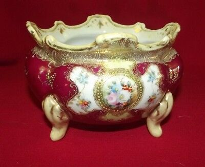Antique Ornate Nippon Handpainted Gold Moriage Footed Porcelain Ferner Bowl