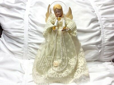 """Angel Lace Light Up Christmas Tree Topper 11"""""""