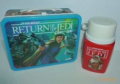1983 Vintage STAR WARS RETURN OF THE JEDI metal Lunch Box & matching thermos