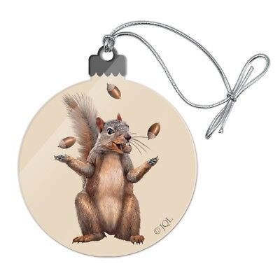Squirrel Juggling His Nuts Crazy Funny Acrylic Christmas Tree Holiday Ornament