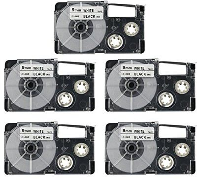 5PK XR-9WE Label Tape Black on White Compatible Casio 9mm KL430 KL820 XR-9WE NEW