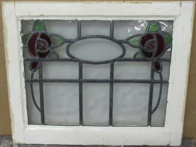 """OLD ENGLISH LEADED STAINED GLASS WINDOW Pretty Double Floral Design 20.5"""" x 17"""""""