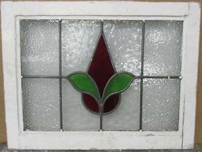 "MID SIZED OLD ENGLISH LEADED STAINED GLASS WINDOW Abstract Drop 23.5"" x 18"""
