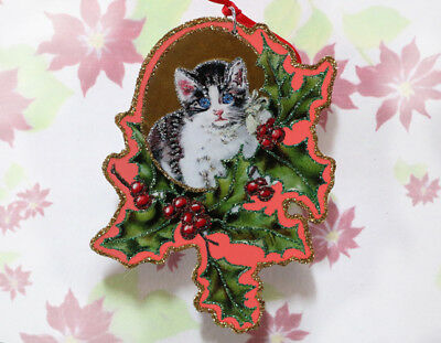 Glittered Wooden Christmas Ornament~Cat and Holly~ Vintage Card Image~