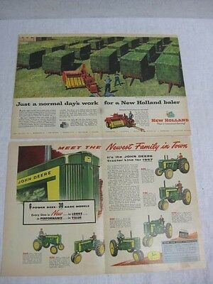 6 Vintage Tractor Magazine Ads - John Deere, New Holland, Massey Harris, Ford