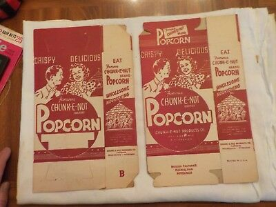 Two Vintage Unused  Famous Chunk-E-Nut Popcorn Cardboard Box Container