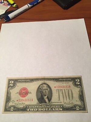 1928 Star $2 Dollar Us Note - Red Seal Vf Nice Note Buy It Now  See Photos!!