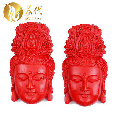 Natural Red Cinnabar Carving Lacquer Chinese Kwan Yin Head Pendant for Necklace