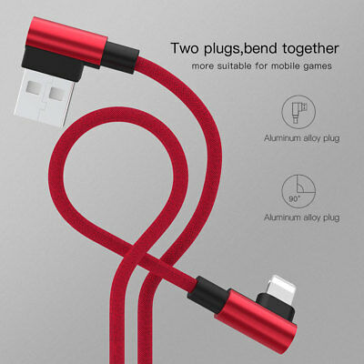 L Style 90 Degree Nylon Charger USB Fast Charging Cable For iPhone XS MAX 6 7 8p