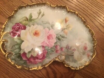Antique  French Limoges Dresser Tray / White and Pink Roses Design With Stamp