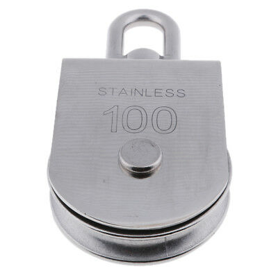 100mm Single Sheave Pulley Block with Swivel Eye - 304 Stainless Steel