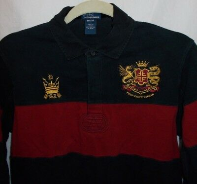 VTG POLO RALPH LAUREN Dragon Crest Spell Out L/S Black RUGBY Shirt Youth M 12/14