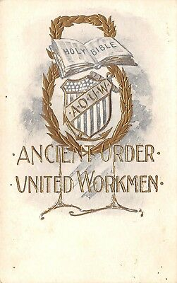Meadville PA Ancient Order of United Workmen~Holy Bible~Embossed~Shield c1910