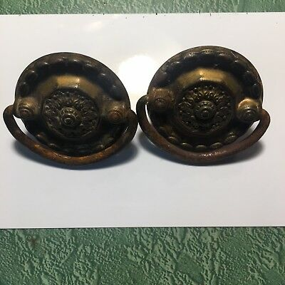 Vintage Brass Drawer Pulls Pair of 2