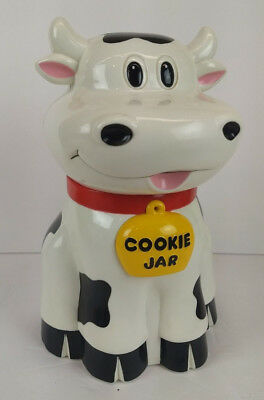 Mooing Cookie Jar Cow Plastic Canister 1992 Fundamental Sounds when you open