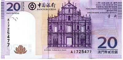 MACAU 20 Patacas 2013  P109b Bank of China UNC Banknote