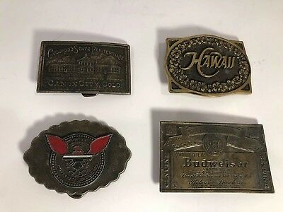 Lot Of 4 Vintage Brass Belt Buckles From The 70's HAWAII /CHEVROLET/ BUDWEISER..