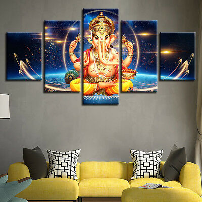 Hindu Elephant Head God Lord Ganesha 5 Panel Canvas Print Wall Art Home Decor