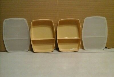 Tupperware VTG lot of 2 divided lunch container,base 813 almond,sheer lid 814